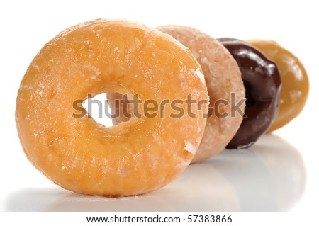 Extreme close-up image of donuts on white background - stock photo
