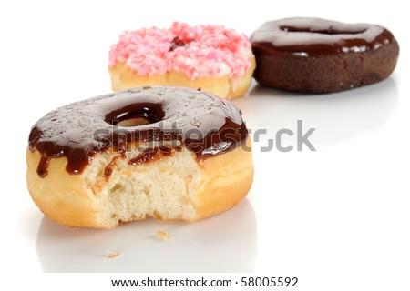 Extreme close-up image of donuts on white background - stock photo