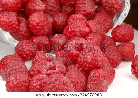 Extreme close-up image of raspberries  - stock photo