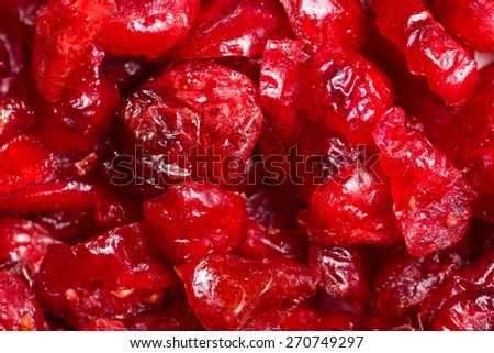 Extreme close-up of dried cranberries - stock photo