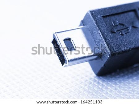 Extreme close up shot of USB plug - stock photo