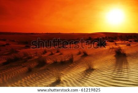 Extreme desert landscape with orange sunset - stock photo