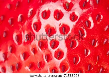 extreme macro red strawberry, background - stock photo