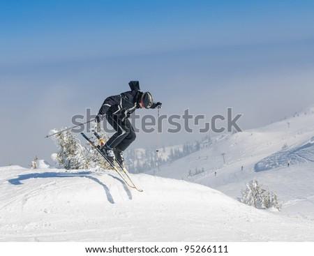 Extreme skiing - stock photo