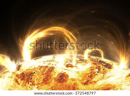 Extreme solar storm, solar flares - stock photo