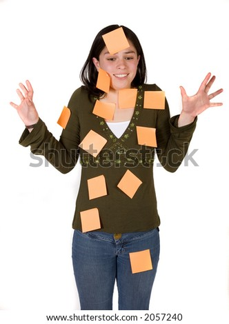 extremely busy woman over a white backgroud - stock photo
