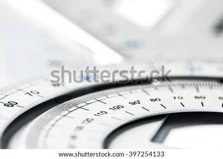 extremely selective focus a part of  the silver precision measurement tool - stock photo