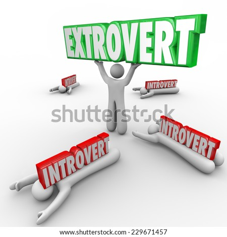 Extrovert vs Introverted people with outgoing character holding a word in triumph and shy people crushed by the 3d letters - stock photo