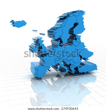 Extruded map of Europe with national borders, 3d render - stock photo