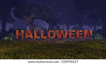 Extruded rusty Halloween text in a creepy night forest. Decorative 3D illustration was done from my own 3D rendering file. - stock photo