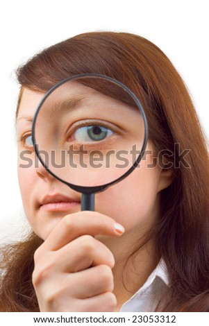 Eye and magnifying glass isolated on white background - stock photo