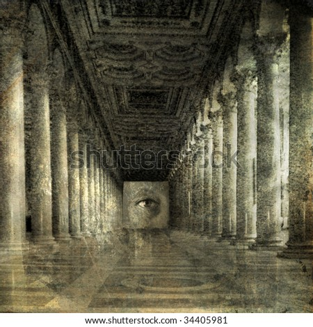 Eye at the end of Roman columns. Photo based illustration. - stock photo
