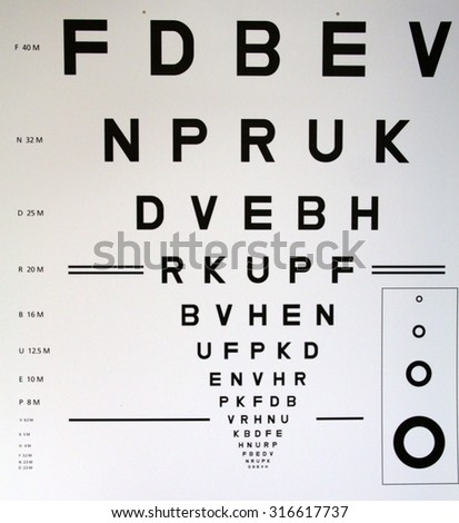 Eye chart with letters and standard characters - stock photo