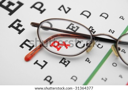 eye chart with prescription symbol - stock photo