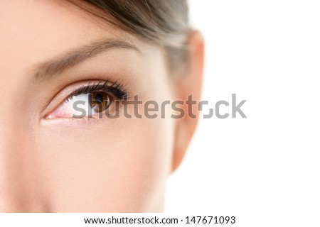 Eye close up - brown eyes looking to side isolated on white background. Mixed race Asian Caucasian woman looking sideways. Closeup of brown female eye. - stock photo
