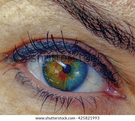 eye close-up. iris heterochromia, two-color iris. caucasian. - stock photo