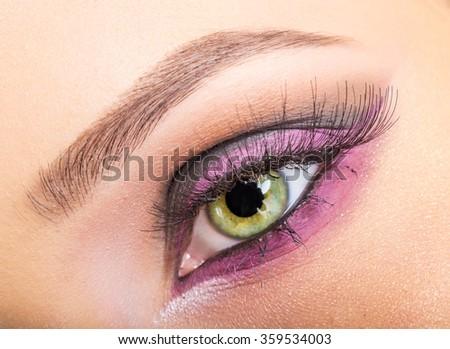 Eye close up makeup - stock photo