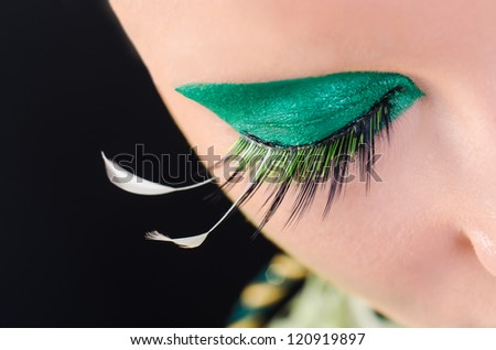 Eye detail of an alien character for a science fiction movie - stock photo