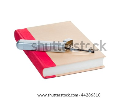 Eye glasses on a book, isolated on white background - stock photo