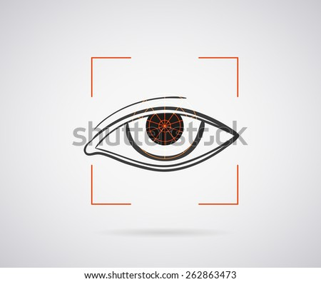 Eye identification icon with red laser frame - stock photo