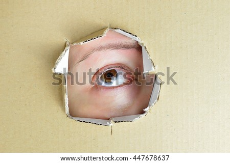 eye looking cardboard close up trapped - stock photo