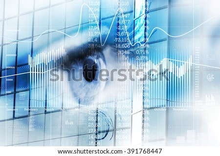 Eye looks to the future business. Eye women in double exposure with charts and diagrams business. - stock photo