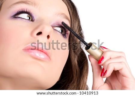 Eye make-up. Isolated on white. - stock photo