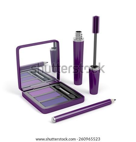 Eye make-up set with mascara, eye shadow and eye pencil - stock photo