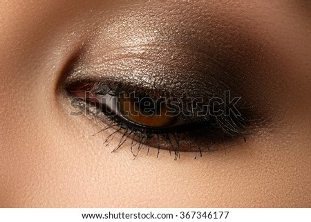 Eye makeup. Beautiful eyes retro style make-up. Holiday makeup detail. Eyeliner. Cosmetics and make-up. Closeup macro shot of fashion visage