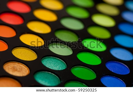 eye makeup palette close up - stock photo