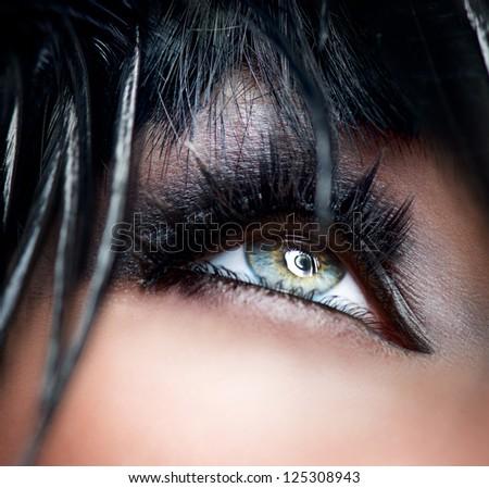 Eye Makeup. Smoky Eyes. Smokey Eyes Make-up close-up. Black Eyeshadow - stock photo