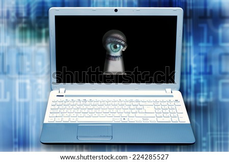 eye observing from keyhole in monitor, hacking and danger in internet - stock photo