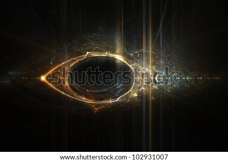 Eye of Horus abstract flame fractal background design - stock photo