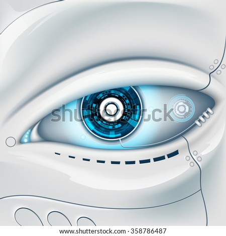Eye of the robot. Futuristic HUD interface. Stock illustration. - stock photo