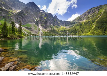 Eye of the Sea lake in Tatra mountains, Poland - stock photo