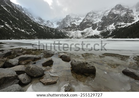 Eye of the Sea (Morskie Oko), Tatra Mountains, Poland. - stock photo