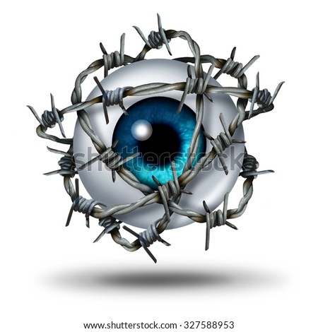 Eye pain medical concept as a human vision organ wrapped with sharp metal barb or barbed wire as a symbol for glaucoma or restricted visual access and witness protection icon on white. - stock photo