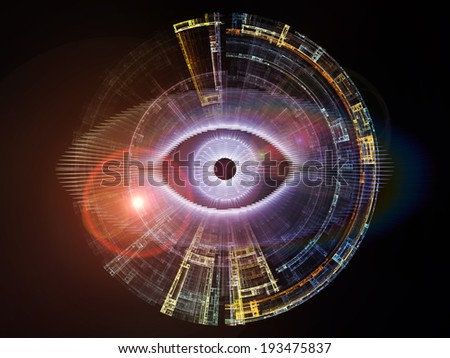 Eye Particle series. Composition of eye shape and fractal elements on the subject of spirituality, art and  technology - stock photo