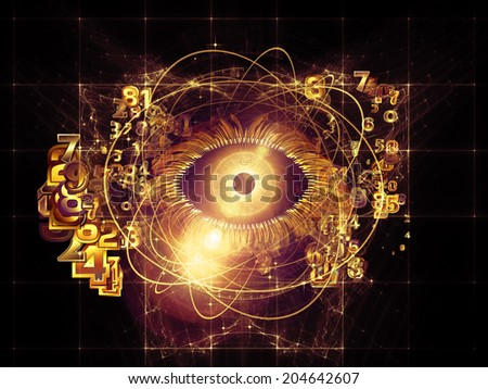 Eye Particle series. Design composed of eye shape, numbers and fractal elements as a metaphor on the subject of spirituality, science and  technology - stock photo