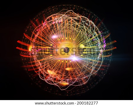 Eye Particle series. Interplay of eye shape and fractal elements on the subject of spirituality, art and  technology - stock photo