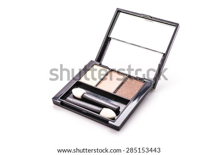 Eye shadow cosmetic isolated on white background - stock photo