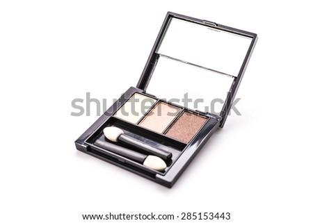 Eye shadow cosmetic isolated on white background - stock photo