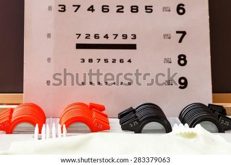 Eye test equipment for checking eye. Eye glasses. - stock photo