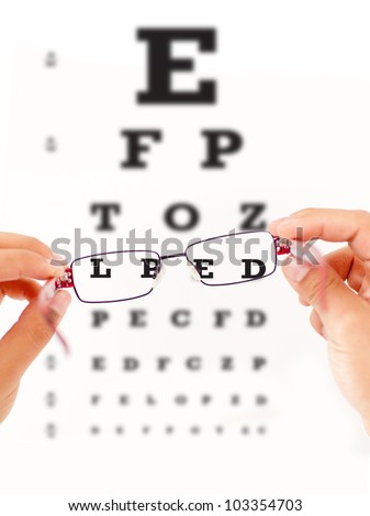 Eye vision test and sight improving with glasses - stock photo