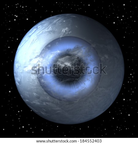 Eyeball shaped planet earth free floating in space, 3d rendering - stock photo