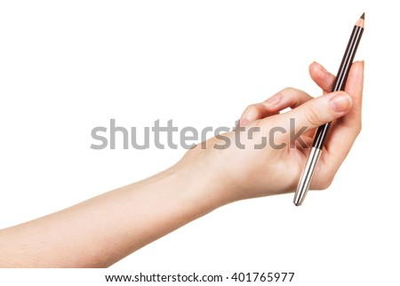 Eyebrow Pencil in a female hand isolated on white background. - stock photo