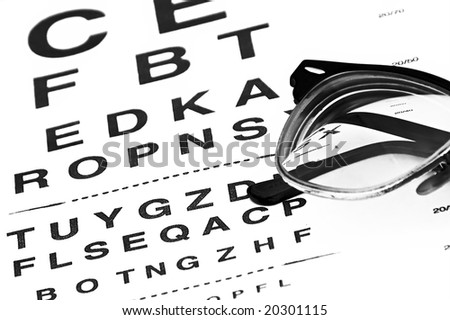 eyechart with eyeglasses glowing from underneath - stock photo