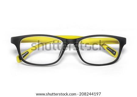 Eyeglasses yellow and black isolated on white. - stock photo