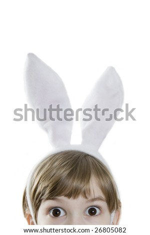Eyes  beautiful girl in rabbit ears.  Lots of copyspace and room for text on this isolate. Looking in wide-eyed - stock photo