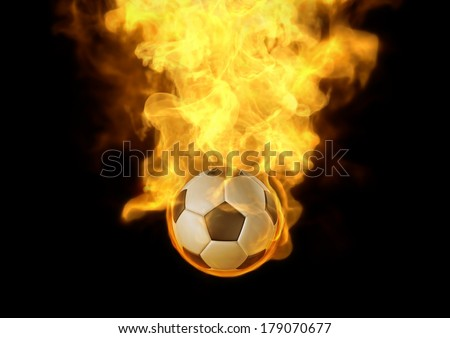 Eyes catching your layout with fire burn on soccer ball, It's very interesting to highlight your jobs. - stock photo
